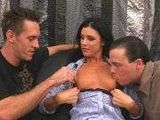 Brunette milf gets her pussy fucked by big dicks
