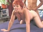 Cute redhead mature dildoed n fucked by black dude