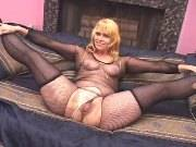 Amazing blonde mom in fishnets hard fucked on sofa