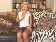 Busty blonde mature gets her pussy screwed on sofa