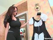 Hot Mature Maid Ava Addams Tries Hirer`s Dress On 1