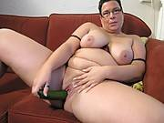 Masturbating big lady on the couch